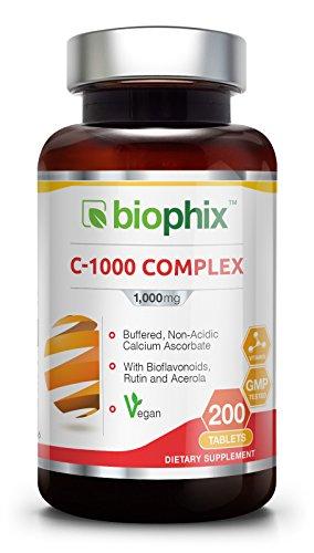 Vitamin C 1000 Complex 200 Tabs - Vegan Immune Support with Bioflavonoids Rutin and Acerola