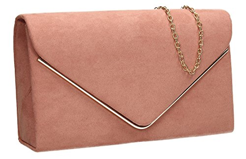 Party Prom SWANKYSWANS Envelope Womens Bag Suede Pink Blush Evening Clutch Madison qw7FtP