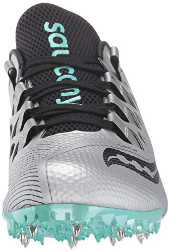 Saucony Women's Showdown 4 Track Shoe, Silver/Teal, 5 Medium US by Saucony (Image #4)