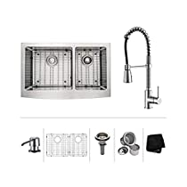 36 inch Farmhouse Double Bowl Stainless Steel Kitchen Sink with Chrome Kitchen Faucet and Soap Dispenser 0912PPZYXXX