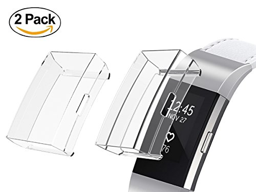 Minfex Screen Protector for Fitbit Charge 2, Soft TPU Cover Case Protective Casing Scratch Proof Transparent Frame Shell Accessories for Fitbit Charge 2 Smartwatch 2PCS Clear+Clear by Minfex