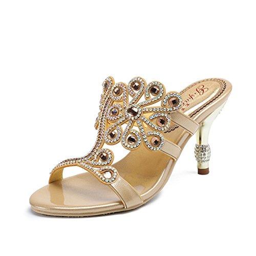 Zapatos de Mujer PU Summer Comfort Sandalias Tacón de Aguja para Exterior Gold Silver Black Purple Red E