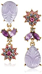 "Betsey Johnson ""Fall Follies"" Carved Stone and Flower Mismatch Drop Earrings"