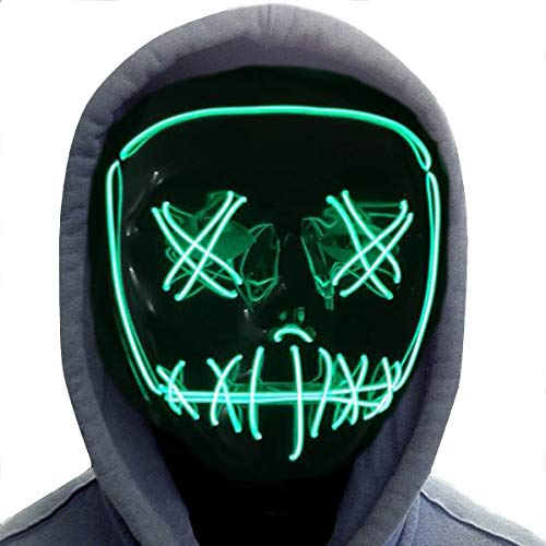Halloween Mask,LED Masks Glow Scary Mask Light Up Cosplay Mask Rave Mask for Festival Music Party Parties Costume Christmas (Halloween mask for Green 3)