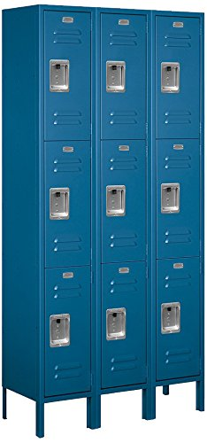 Salsbury Industries 63362BL-U Triple Tier 36-Inch Wide 6-Feet High 12-Inch Deep Unassembled Standard Metal Locker, Blue