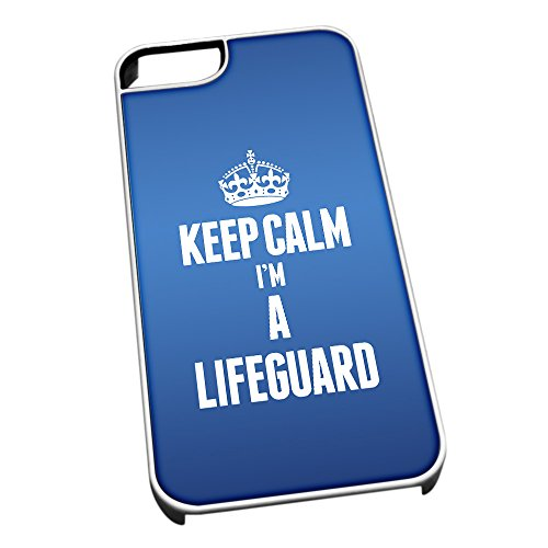 Bianco cover per iPhone 5/5S blu 2620 Keep Calm I m A Lifeguard