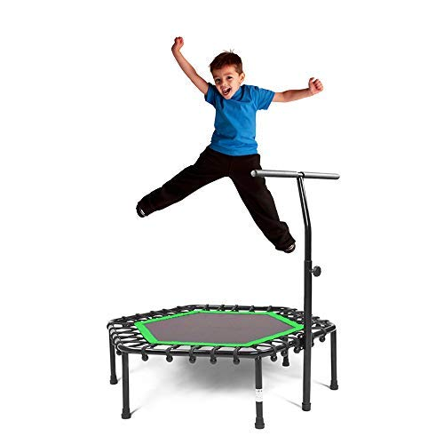 Safly Fun Fitness Trampoline Mini Trampoline with Adjustable Handle Bar, Indoor Trampoline Rebounder for Adults - Exercise Rebounder Home Trainer for Cardio Workout 40'' (Green)