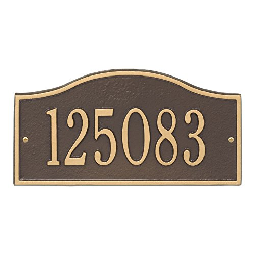 Whitehall Personalized Cast Metal Address Plaque - Small Rolling Hills Custom House Number Sign - 12'' x 6'' - Allows Special Characters - Bronze/Gold by Whitehall (Image #8)