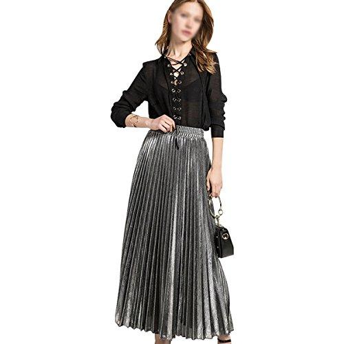 Rebecca Women's Midi Skirt Long Pleated Skirt Shiny Shimmer A Line High Waist Skirts (Silver) ()