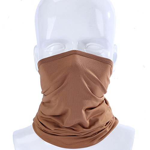 ECYC Elastic Breathable Neck Gaiter Tube Scarf Half Face Mask Motorcycle Bicycle Balaclava Headwear Pirate Hats,Brown