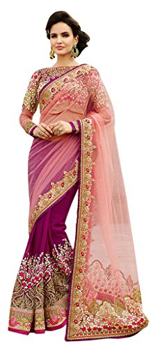 Aarah Women's Ethnic Wedding And Party Wear Saree Free Size Pink and Purple