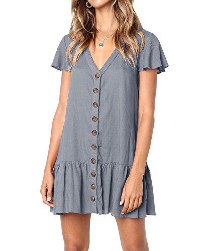 Valphsio Womens V Neck Button Down Ruffle Hem Short Sleeves Tunic Mini Dresses