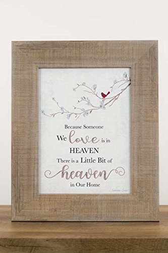 - New Because Someone You Love is in Heaven Home Cardinal Neutral Beige Grey Decor Sign Framed Art 13x16 (Sandalwood Frame)