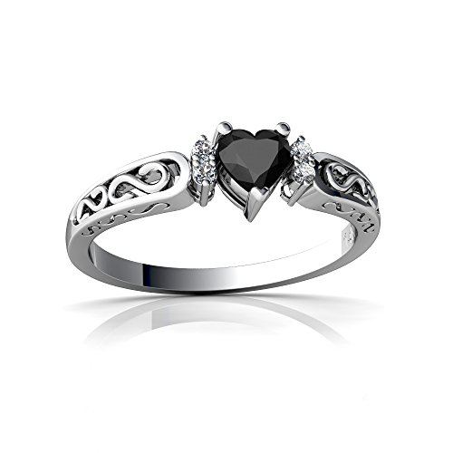 14kt White Gold Black Onyx and Diamond 4mm Heart filligree Scroll Ring - Size 6.5