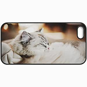 Customized Cellphone Case Back Cover For iPhone 5 5S, Protective Hardshell Case Personalized Cat Furry Sleeping Thick Black