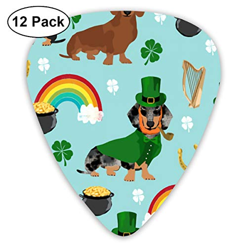 HaSaKa St Patricks Day Leprechaun Doxie Dog Rainbow Guitar Pick 0.46mm 0.73mm 0.96mm 12pack,Suitable for All Kinds of Guitars Merchandise Ornament Accessory Products