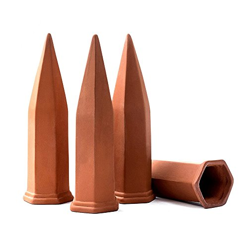 4-Pack Plant Watering Spikes, Terracotta Self Irrigation Devices, Automatic Slow Release Vacation Plants Watering System, Wine Bottle Stake Waterer Set for Home Indoor Outdoor Office Plants by Luss Custom