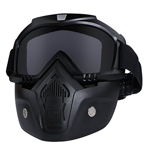 Motorcycle Riding Masks - Motorcycle Helmet Riding Goggles Glasses With Removable Face Mask,Detachable Fog-proof Warm Goggles Mouth Filter Adjustable Non-slip Strap Vintage Harley Bullet Fight Motocross (black)