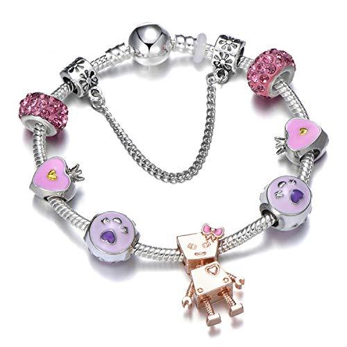 KEIRA HENDERSON Jewelry Lovers Charm Bracelets Pink Rabbit Pendant Bracelet DIY Making for Women Wife Best Gift,A22,20cm (Silver Bracelet For Baby Boy In India)