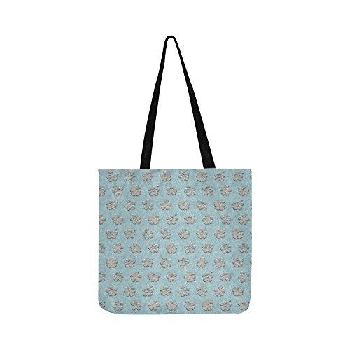 Texture Beige Grey Blue Pile Velour Canvas Tote Handbag Shou