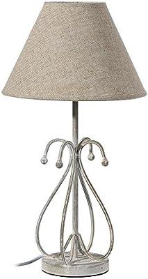 lampara mesa gris metal lino LULL: Amazon.es: Hogar