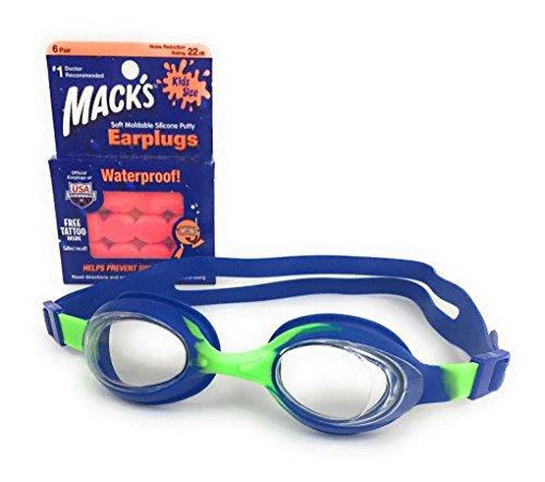 Tyr Ear Plugs (Kid Swimming Goggles by TYR with Macks Waterproof Earplugs)