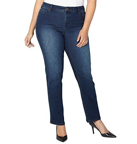 Avenue Denim (Avenue Women's 1432 Straight Leg Jean In Dark, 18 Dark Wash)