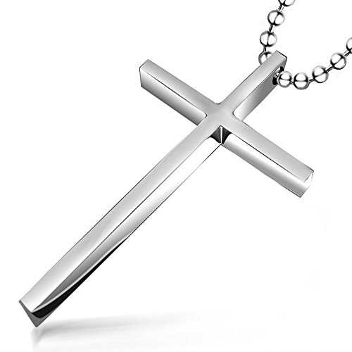 Women Men Simple Stainless Titanium Steel Silver-Tone Cross Pendant 24'' Bead Chain Necklace Lovers Jewelry(Small)