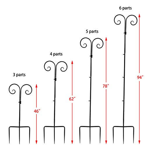 Vencer Set of 2 Double Shepherd Hook 94 Inch Heavy Duty 7/10 in Thick Rust Resistant Premium Metal Hook for Weddings Hanging Plant Baskets Solar Lights Christmas Lights Lanterns Bird Feeders,VHH-002 by Vencer (Image #1)