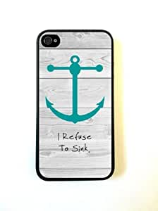 Bereadyship For iPhone 4 Case - Protective Case for iPhone 4/4s Case Beach Teal Anchor Refuse to Sink