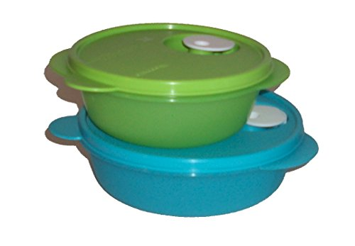 Tupperware CrystalWave Microwave 2c Bowl Divided Lunch Dish Plate Set Blue Green