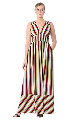 eShakti Women's Stripe Print Crepe Empire Maxi Dress 2X-22W Regular Cream/Olive/Red/Black Bias Cut Elastic Waist Skirt