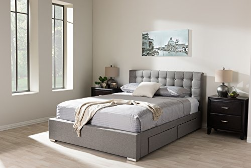Baxton Studio Rene Queen Storage Platform Bed in Gray
