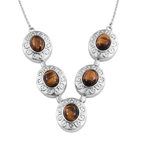 Shop LC Delivering Joy Necklace Stainless Steel Oval Tigers Eye Jewelry for Women Size ()