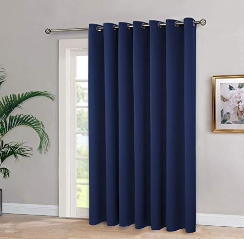 BGment Sliding Patio Door Blackout Curtain for Living Room, Grommet Thermal Insulated Room Darkening Divider Curtains for Bedroom, Navy Blue, 100 x 84 Inch, 1 Panel