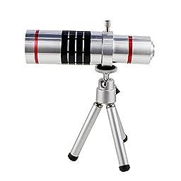 Shopping_Shop2000® 18x Zoom Aluminum Universal Manual Focus Telephoto Telescope Phone Camera Lens Kit + Mini Tripod + Case For iPhone 6 (4.7\