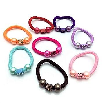 Amazon.com   Emeiko - Elastic Hair Ties No Crease Hair Bands Spring  Ponytail Assorted colors Pack of 10   Beauty b4b554c4cb1