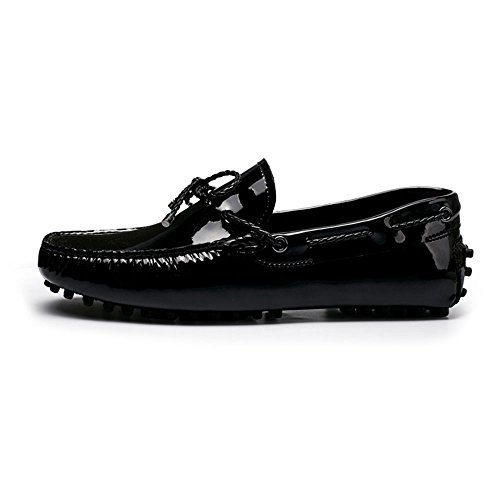 Men Patent Leather Slip on Loafers Shoes Casual Bowtie Driving Boat Shoes (9, Black)