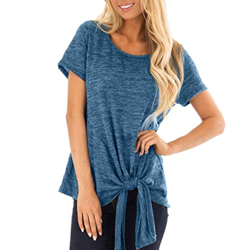 Mysky Fashion Women Summer Pure Color Short Sleeve Blouse Tops Ladies Casual Simple Bandage Knot Tunic T-Shirt Blue