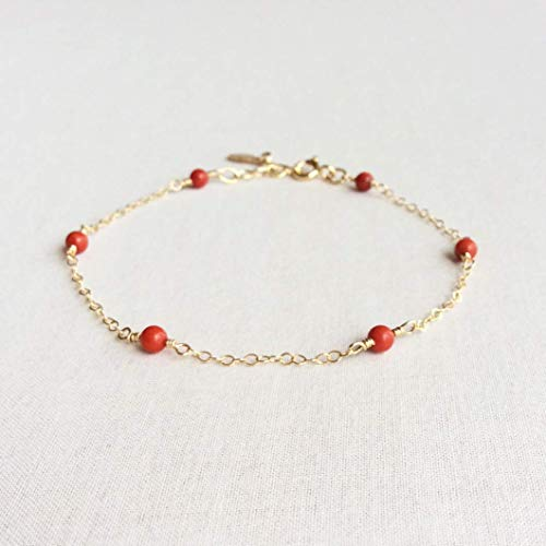 (Red Coral Bracelet with Gold Filled or 14K Solid Gold Adjustable Chain for Women 6.5