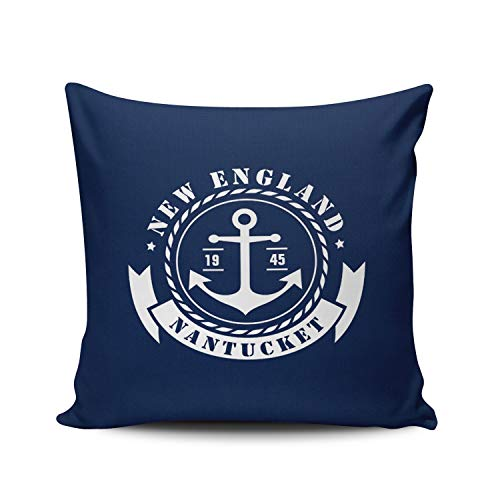 WEINIYA Home Decoration Throw Pillow Case Navy Blue and White 20X20 Inch Nautical Sea Anchor Label Square Custom Pillowcase Cushion Cover Double Sided Printed (Set of 1)
