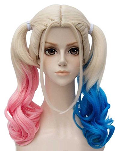 TSNOMORE Middle Length Culry Ponytails Cosplay Wig for Women (Pink and Blue) -