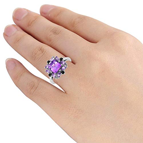 Orchid Jewelry 2.6 Ctw Natural Square Purple Amethyst and Sapphire 925 Sterling Silver Ring For Women A February Birthstone Gemstone-A Beautiful,Design in Silver Ideal As A Unique For Wife Or Moms
