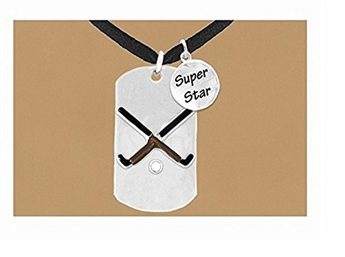 Double-sided Field Hockey ''Never Give Up'' Dog Tag & ''Super Star'' Charm Necklace by Lonestar Jewelry