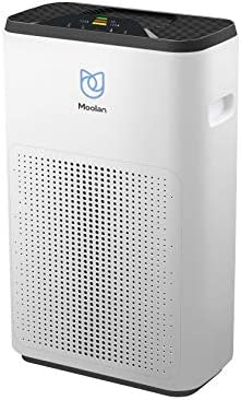 Moolan Air Purifier for Home True HEPA Filter,Smokers and Pets Hair, Cleaner Eliminators, Odor Smoke Dust, Washable Filter, Air Quality Monitor
