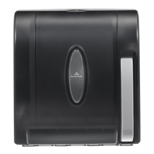 "Georgia-Pacific Vista 54338 Black Hygienic Push Paddle Roll Paper Towel Dispenser, 12.75"" Width x 14.25"" Height x 10.5"" Depth"