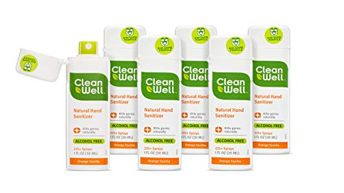 CleanWell Natural Hand Sanitizer Spray, Orange Vanilla, Travel Size, 1 oz, (Pack of 6) - Plant-Based, Alcohol-Free, Kid Friendly, Kills Germs botanically (Antimicrobial Sanitizer Hand)