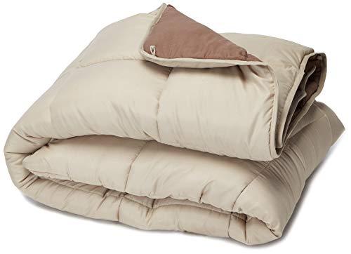 LINENSPA All-Season Reversible Down Alternative Quilted Comforter - Corner Duvet Tabs - Hypoallergenic - Plush Microfiber Fill - Box Stitched - Machine Washable - Sand / Mocha - Queen