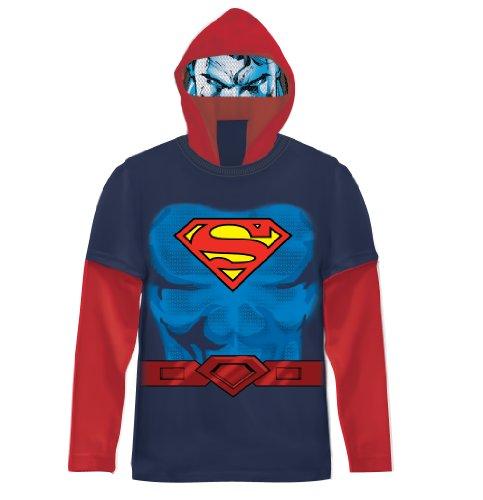 DC Comics Superman Boys Navy Costume T-shirt with Hood (Boys (Boys Superman Longsleeve Costumes Tshirt)