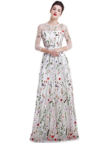 (YSMei Women's Summer Embroidery Floral Long Prom Dress Scoop Evening Party Gown White 20W)